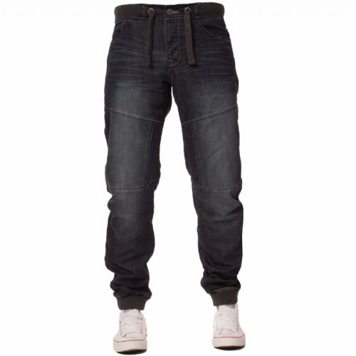 iDenim Men's Designer Blue Dark Wash Cuffed Bottom Jogger Elasticated Jeans